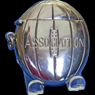 "Figural ""Association"" football match safe, c. 1895, nickel plated"