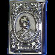 Emperor Wilhelm II and Empress Victoria match safe, book shaped, vulcanite, c. 1890