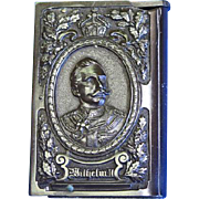 Emperor Wilhelm II and Empress Victoria match safe, book shaped, vulcanite, c. 1890