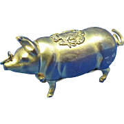 Figural pig, match safe, King Edward VII crest, brass, c. 1902