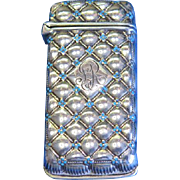 Unusual design match safe, sterling with enamel decoration, by Whiting Mfg. Co., c. 1900, #4057