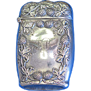 Floral/thistle motif match safe, sterling by Attleboro Chain Co., c. 1900, gold gilted interior
