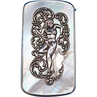 Art Nouveau standing nude motif match safe, sterling and mother of pearl by Webster Co., c. 1900, unusual