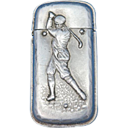 Golfer swing club motif match safe, aluminum, by  Scovill Mfg. Co., c. 1895