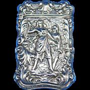 Diana the Huntress motif match safe, Bristol Silver by Bristol Mfg. Co., c. 1900