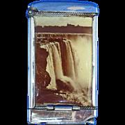 Niagara Falls and Cascade Falls souvenir match safe, photo inserts, cigar cutter, c. 1910, Whitehead & Hoag