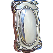 Beaded edge design with scalloped corners, match safe, sterling by Gorham Mfg. Co., gold gilted interior, B266, c. 1898
