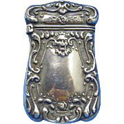 Match safe with face and floral design, sterling by Watson C0., c. 1900, gilted interior