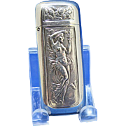 Art Nouveau, standing nude holding torch match safe, silver plated by Meriden Britannia Co., c. 1895