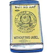 United Hatters Union of North America match safe, celluloid inserts by N J Aluminum Co., c. 1904