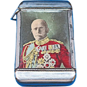 General Foch, Allied General of WWI match safe, celluloid by Whitehead & Hoag, c. 1915