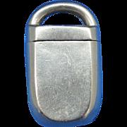 Figural padlock match safe, nickel plated brass, c. 1890