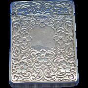 Floral motif match safe, sterling by Webster Company, c. 1900