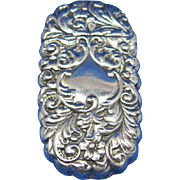 Oval shaped match safe with a floral and foliate motif, G. Silver