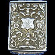 God Shiva motif match safe, silver, c. 1900