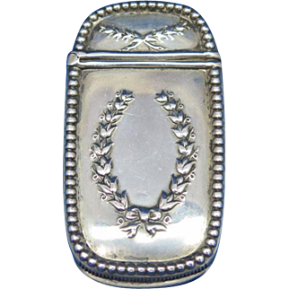 Wreath design match safe sterling with unidentified maker's mark, c. 1900