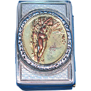 Very early match safe, reclining nude, sterling by William Phillips, 1842 London hallmarks, rare