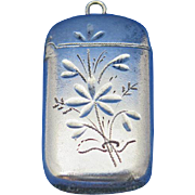 Petite floral motif match safe, silver plated, c. 1895