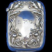 Floral and leaf edge design match safe, sterling, unidentified maker's mark, c. 1900