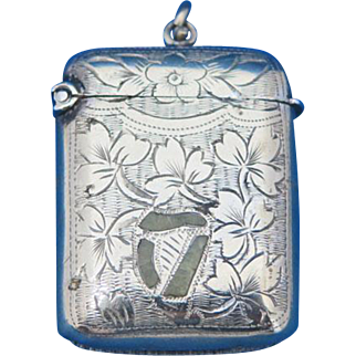 Agate Iberian harp and engraved flower motif match safe, silver plated, c. 1895