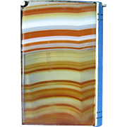 Book-shaped banded agate match safe, c. 1895