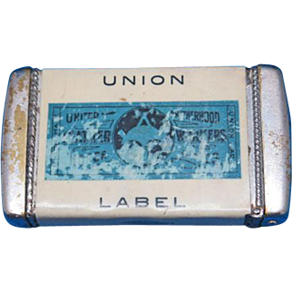 International United Brotherhood of Leather Workers on Horse Goods match safe, celluloid wrapped, Whitehead & Hoag, c. 1905, Union