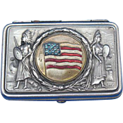 1904 St. Louis World's Fair, Official U.S. Flag, Native American Indians, match safe, pillbox type, nickel plated brass, by August Goertz