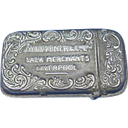 Advertising match safe, J. H. Dovener & Co., Ltd., Sack Merchants, Liverpool, Whitehead & Hoag, c. 1900