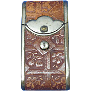Figural camera case or dispatch case with tooled leather match safe, push button lid release, c. 1895