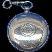 Order of the Garter design, pocket watch shaped match safe, nickel plated brass, c. 1900
