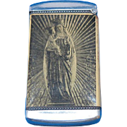 Madonna w/ child & cathedral complex match safe, celluloid wrapped, c. 1905, J. E. Mergott Co.
