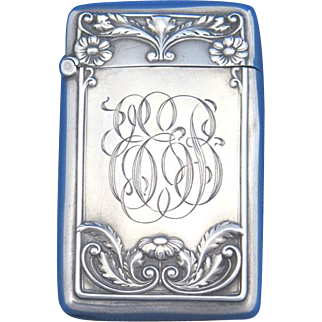 Floral motif match safe, sterling by Gorham Mfg. Co., 1912 date mark, mfg. #B3804