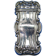 Scroll edge design match safe, sterling by Frank M. Whiting Co., gold gilted interior,  c. 1900, cat. #191