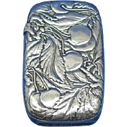 Cherry and leaf motif match safe, by R. Wallace & Sons, Mfg. Co., silver soldered, #095