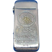 Unusual Pabst Brewing Co. match safe, nickel plated brass, c. 1895, hops logo, floral design