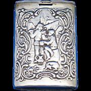 Slide type match safe with Dutch motifs, 830 silver by J.D. Schleissner Sohne, Hanau, Germany, c. 1895