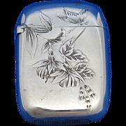 Etch floral motif match safe, sterling by Gorham Mfg. Co., mfg. #570, 1886 date mark