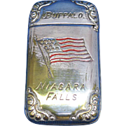 1901 Pan American Exposition match safe, Niagara Falls, Buffalo, American Flag, Wm. Schimper & Co., nickel plated brass