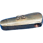 Rare figural violin case w/ cigar cutter match safe, brass, c. 1895, swivel handle