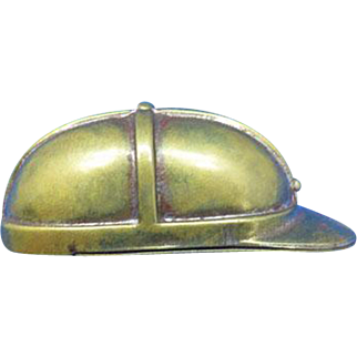 Unusual jockey hat match safe, original signed G. Goliasch & Co., Berlin, brass, c. 1895, push button lid release, NOT A REPRO