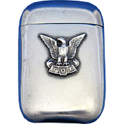 Fraternal Order of Eagles match safe, sterling by L. Fritzsche & Co., c. 1900, gold gilted interior