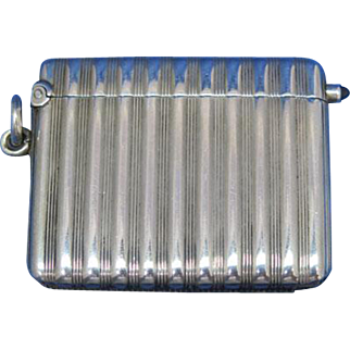 Ribbed match safe with sapphire cabochon, gold gilted interior, 900 silver, c. 1900