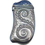 Spiral pearling and seaweed in the Persian taste motif match safe, sterling by Whiting Mfg., c. 1895, #2337