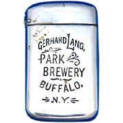 Gerhard Lang Park Brewery/Buffalo Beer advertising match safe by Wm. Schimper, patented Dec. 7, 1897, nickel plated brass
