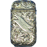 Deeply engraved foliate motif match safe, gold plated, 1892