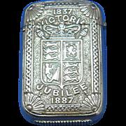 Queen Victoria's 1837-1887 Jubilee match safe, nickel plated