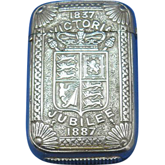 Queen Victoria's 1837-1887 Jubilee match safe, nickel plated