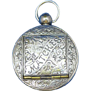 Pocket watch shaped match safe with a floral motif by Joseph Walker, nickel plated brass, c. 1895