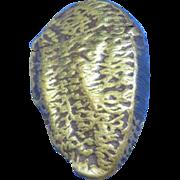"""Figural Brazil nut match safe, brass, marked """"Geschutz"""", c. 1890"""