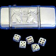 Chuck Luck gambling match safe w/ 5 bone dice, donkey motif, nickel plated brass, c. 1895